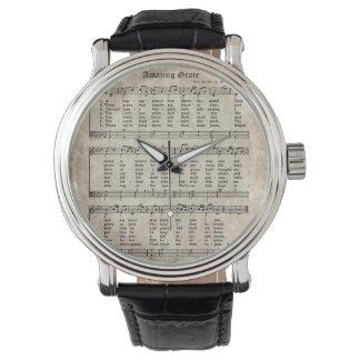 Fantastische Anmut-Vintage Hymnen-Blatt-Musik-Uhr Uhr