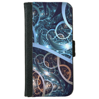 Fantastische blaue Fraktal-Kunst iPhone 6/6s Geldbeutel Hülle
