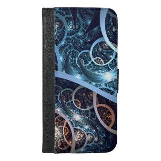 Fantastische blaue Fraktal-Kunst iPhone 6/6s Plus Geldbeutel Hülle