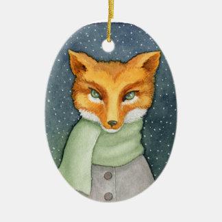 Fantastische Fox-Weihnachtsverzierung Ovales Keramik Ornament
