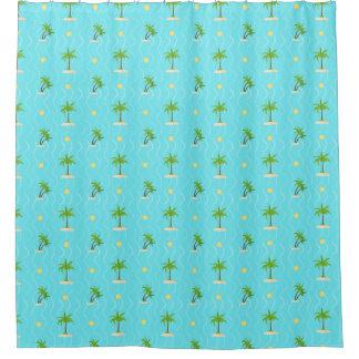 Fantastische gewellte Linien Muster der Palmen Duschvorhang