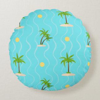 Fantastische gewellte Linien Muster der Palmen Rundes Kissen