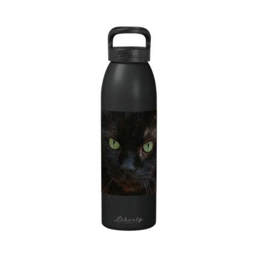 Fantastische grüne mit Augen schwarze Katze Trinkflaschen