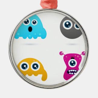 Fantastische Hand-gezeichnete Mikrobensammlung - Rundes Silberfarbenes Ornament