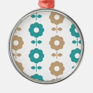 Fantastische kreative VolksBlumen Rundes Silberfarbenes Ornament