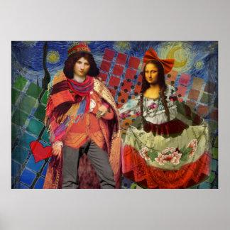 Fantastische lustige Mona Lisa Paare wunderlich Poster
