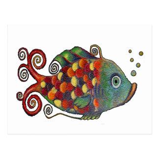 Fantastische Regenbogen-wunderliche Fischekünstler Postkarte