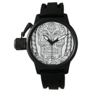 Fantastische Tätowierungs-Kunst Sugarskull Uhr