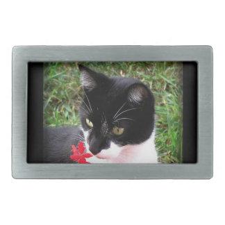 Fantastische Tuxedo-Katze im Garten Rechteckige Gürtelschnalle