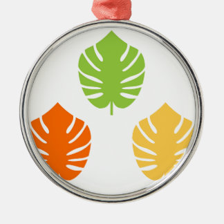 Fantastische Vintage exotische Blätterausgabe Rundes Silberfarbenes Ornament