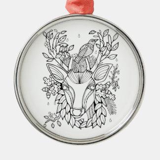 Fantastische Waldrotwild Rundes Silberfarbenes Ornament