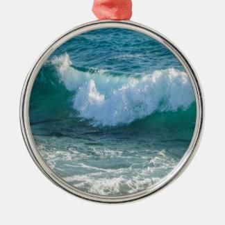 Fantastische Wellenseeuferseeozeannatur Silbernes Ornament