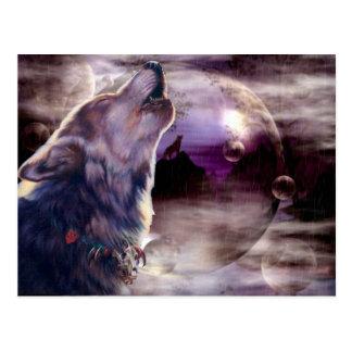 Fantastische Wolf-Lied-Postkarte Postkarte