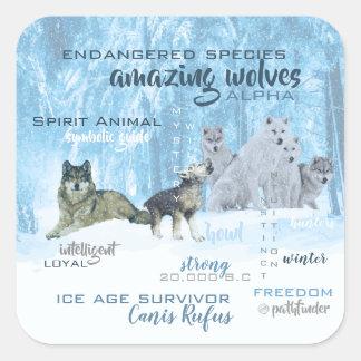 Fantastische Wolf-Typografie | personalisiert Quadratischer Aufkleber