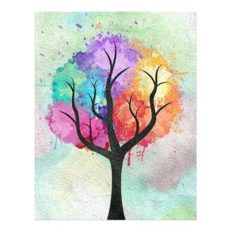 Fantastischer abstrakter Pastellfarbölfarbebaum 21,6 X 27,9 Cm Flyer