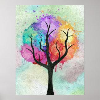 Fantastischer abstrakter Pastellfarbölfarbebaum Poster