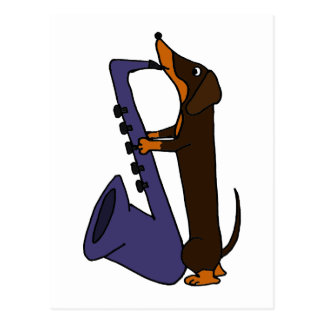 Fantastischer Dackel-Hund, der Saxophone spielt Postkarte
