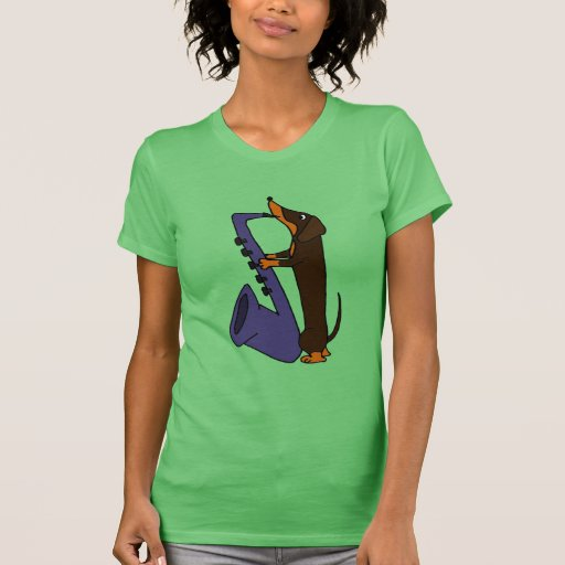 Fantastischer Dackel-Hund, der Saxophone spielt T-Shirts