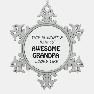 Fantastischer Großvater Schneeflocken Zinn-Ornament