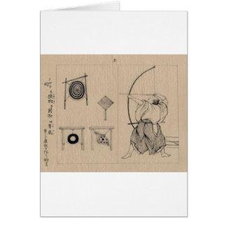 Fantastischer Japaner Bogenschütze, der circa 1878 Karte