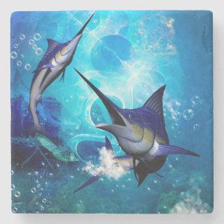 Fantastischer Speerfisch mit Blasen Steinuntersetzer