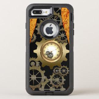 Fantastischer steampunk Entwurf mit Uhren und OtterBox Defender iPhone 8 Plus/7 Plus Hülle