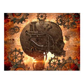 Fantastischer steampunk Schädel Postkarte