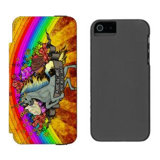 Fantastischer Überlastungs-Unicorn, Regenbogen u. Incipio Watson™ iPhone 5 Geldbörsen Hülle