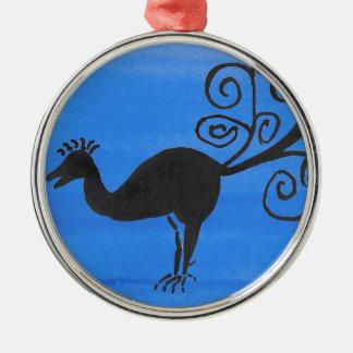 Fantastischer Vogel Rundes Silberfarbenes Ornament