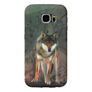 Fantastischer Wolf auf Vintagem Hintergrund
