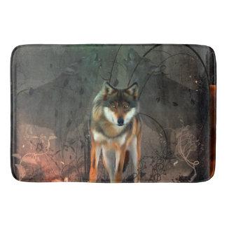 Fantastischer Wolf auf Vintagem Hintergrund Badematte