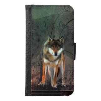 Fantastischer Wolf auf Vintagem Hintergrund Geldbeutel Hülle Für Das Samsung Galaxy S6