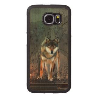 Fantastischer Wolf auf Vintagem Hintergrund Handyhülle Aus Holz