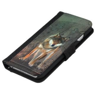 Fantastischer Wolf auf Vintagem Hintergrund iPhone 6/6s Geldbeutel Hülle