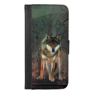 Fantastischer Wolf auf Vintagem Hintergrund iPhone 6/6s Plus Geldbeutel Hülle