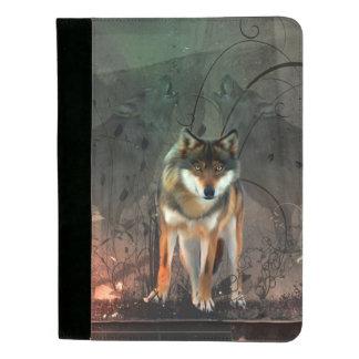 Fantastischer Wolf auf Vintagem Hintergrund Padfolio