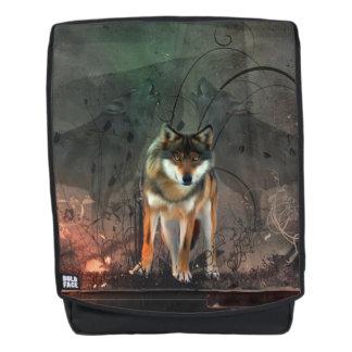 Fantastischer Wolf auf Vintagem Hintergrund Rucksack