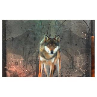 Fantastischer Wolf auf Vintagem Hintergrund Stoff