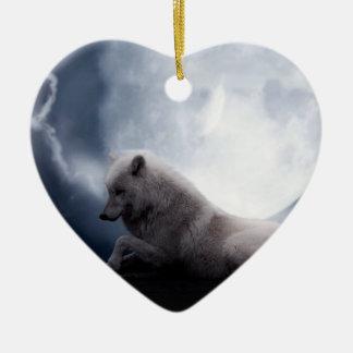 Fantastischer Wolf und Mond-weißer Wolf Keramik Herz-Ornament