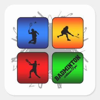 Fantastisches Badminton-städtische Art Quadratischer Aufkleber