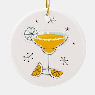Fantastisches Goldniedliches Margarita-Cocktail Rundes Keramik Ornament