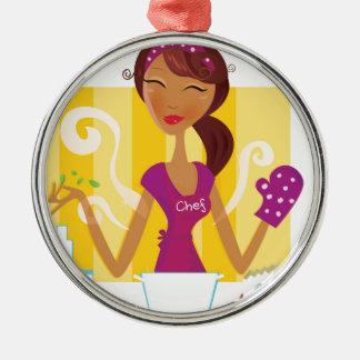 Fantastisches niedliches Vintages Mädchen in der Rundes Silberfarbenes Ornament