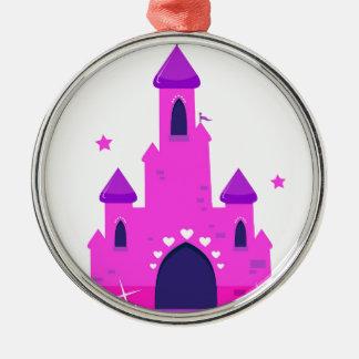 Fantastisches Prinzessin PINK SCHLOSS Rundes Silberfarbenes Ornament