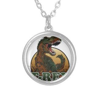 fantastisches t-rex braune und grüne Illustration Versilberte Kette