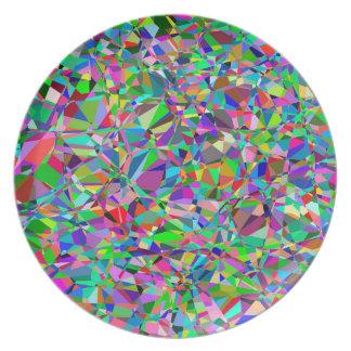 Farbabstraktes beflecktes Glas-Muster Teller