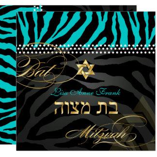 Farbaqua des PixDezines Zebra-Schläger-Mitzvah/DIY Quadratische 13,3 Cm Einladungskarte