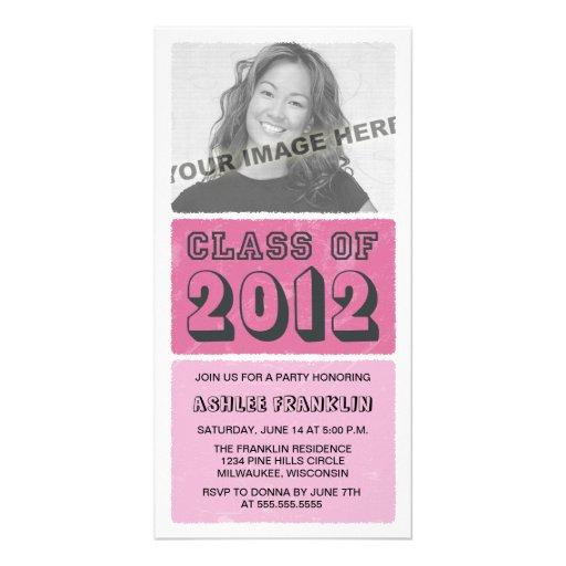 Farbblock-Abschluss-Party 2012 lädt - Rosa ein Fotokartenvorlagen