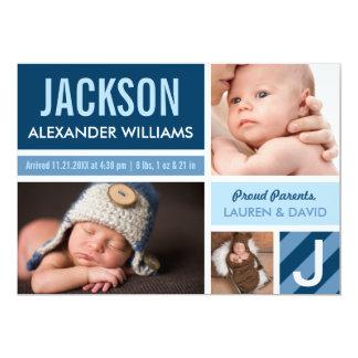 Farbblock-Collage der Foto-Geburts-Mitteilungs-| 12,7 X 17,8 Cm Einladungskarte
