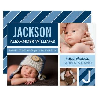 Farbblock-Collage der Foto-Geburts-Mitteilungs-| Karte