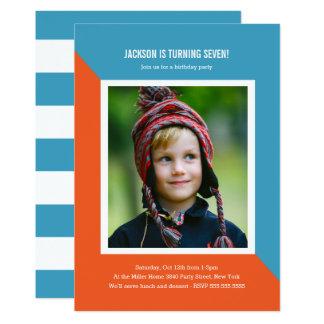 Farbblock-Foto-Kindergeburtstag 12,7 X 17,8 Cm Einladungskarte